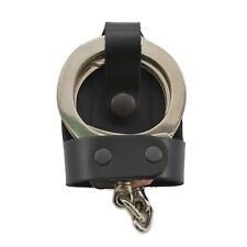 """Perfect Fit Leather Bikini Handcuff Case Black Snap 2 3/8"""" Belt Clip Cuff Holder"""