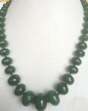 """10-18mm Natural Emerald Faceted Gems Roundel Beads Necklace 18"""" JN306"""