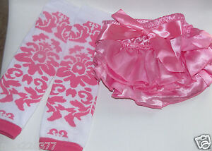 NEW  Baby girl Leg Warmers  0-24 MONTHS PINK DAMASK diaper cover bloomer set