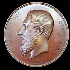KING LEOPOLD II BRONZE MEDAL: FIRST ANNUAL MUSIC FESTIVAL IN BRUSSELS 1869 65mm