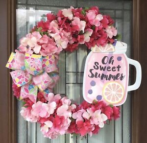 """Summer Wreath Grapevine 22""""-23"""" Door Decor Pink And Rose Red With Sign"""