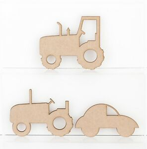 Wooden MDF Tractor Bubble Car Craft Shape Sign Blank 3mm Thick Medite