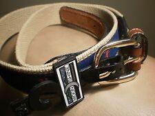 NWT MOONSHINE USA Co. Leather Web Belt Solid Brass Buckle SZ 34 Vagabond Hobo