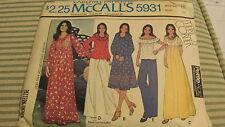 McCalls 5931 VTG Pattern Misses Dress or Top and Vest 1978 Size 16 Bust 38