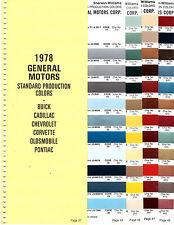 1978 CHEVROLET CORVETTE OLDSMOBILE BUICK PONTIAC CADILLAC 78 PAINT CHIPS SW4