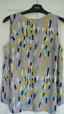 BODEN SHELL TOP in PALE GREY MULTI PAINTED GEO UK 10, EUR 36-38, US 6 NWOT WA700