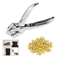 4mm 100pcs Gold Eyelets Heavy Duty Plier Tool Sewing Repair Clothing Craft Bags