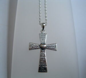 New 925 Sterling Silver serenity cross and chain prayer.
