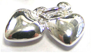2 STERLING SILVER PUFFED HEART CHARMS 9 X 6 MM ATTACHED TO CLOSED 5 MM JUMP RING