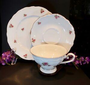 BAVARIA WESTERN GERMANY TRIO  TEA CUP & SAUCER  & DESSERT PLATE  PINK ROSES
