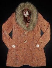 BKE Outerwear Buckle Tapestry Carpet 2 Button Faux Fur Collar Coat Jacket Size S