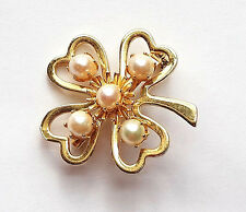 Good Luck Cut Out FOUR LEAF CLOVER Faux Pearls Brooch Pin Gambling Casino