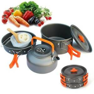 10pcs Portable Camping Cook Cooking Cookware Set Anodised Aluminium Pots Pans UK