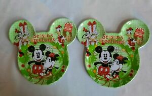 ZAK Mickey and Minnie Mouse Christmas Melamine  Plates 2 NEW BPA FREE 6 1/2 in
