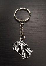 Union Jack Classic Mini Cooper Keyring/Bag Charm, Black, Grey & White, Gift
