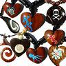 Seestern Halskette Modeschmuck mit Kokos Holz Anhänger variables Halsband