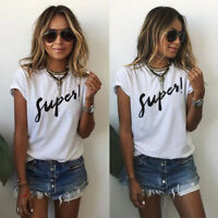 UK Summer Womens Letter Casual Blouse T-Shirt Short Sleeve Casual Loose Tops Tee