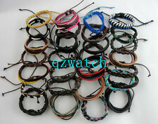 Lots 100 pcs Mixed Style Surfer Cuff Ethnic Tribal Leather Bracelets Wholesale