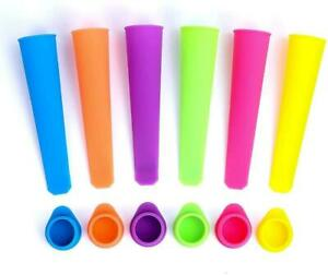 Silicone Popsicle Molds Squeezable Ice Pop Homemade Bags & Attached Lids 6 Pack