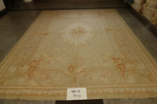 Shabby Vintage Hand Woven French Style Rose Floral Aubusson Rug Wool Pastel