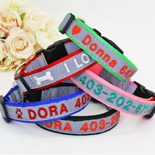 Embroidered Dog Collars Reflective Personalised Dog Name Phone ID Tag Collars