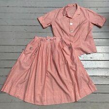 New listing Vintage 1950s Graff 2pc Pink Gingham Shirt Full Skirt Set Med