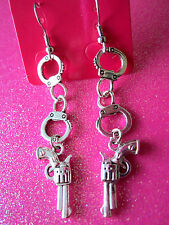 Handcuffs and Guns Dangle Earrings
