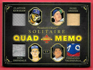 2020 Kershaw-Drysdale-Snider-Valenzuela President's Choice Solitaire 1/1 Relic