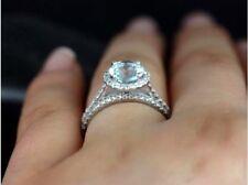 2.00Ct Round Aquamarine Halo Bridal Set Engagement Ring In 14k White Gold Finish