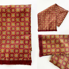 Vintage 1960s 1970s Red and Orange Paisley Fringed Satin and Wool Scarf Mod
