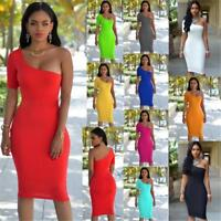 Women's Summer Casual Solid One shoulder Evening Party Beach Bodycon Mini Dress