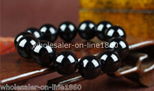 Rare 12mm Black Natural Onyx Round Beads Gemstone Stretch Bracelet
