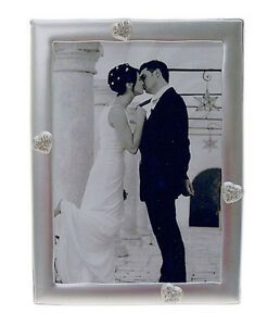 """Silver Photo Picture Frame 4x6"""" Inches & 5x7"""" Inches - LOVE HEARTS"""