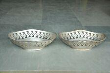 2 Pc Old White Metal Handcrafted Jali Cut Oval Shape Fruit Basket/Bowl