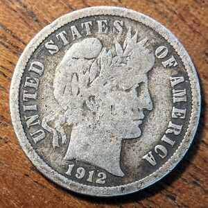 United States 1 Dime 1912 D Silver (.900) Coin - Barber