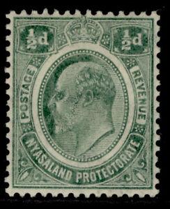 NYASALAND PROTECTORATE EDVII SG73, ½d green, M MINT.