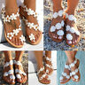 Womens Summer Bohemia Flower Beach Sandals Flat Shoes Thongs Slippers Flip Flops