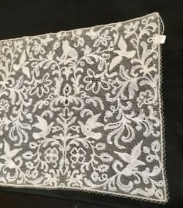 """Small Antique Milanese lace panel 15.3/4"""" x 17.1/2"""" 19th C. Excellent Condition"""