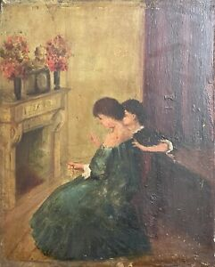 Jeunes Women Choose Collier Oil On Wood Towards 1850 Anonymous