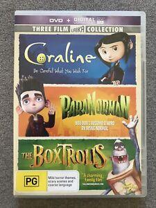 DVD - CORALINE & PARANORMAN & THE BOXTROLLS - OOP RARE PAL region 4