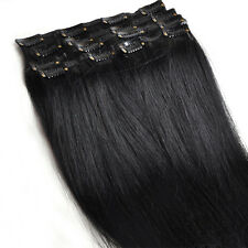 "15"" Clip In 100% Remy Real Human 7Pcs Hair Extensions THIN 70G 15 Colors"