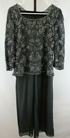 Avani Evening Womens Ladies 2 Piece Gray Beaded Top Pants Suit Size Small NEW