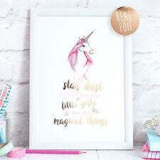 Unicorn Real Foil Rose Gold Quote Print Nursery Bedroom Art Girl Children Print