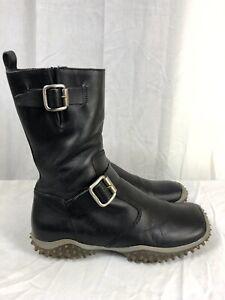 RARE Miu Miu 38.5 US 8.5 Mid Calf Black Leather Combat Biker Boots Italy BX