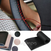 3 Colors Genuine Leather DIY Car Steering Wheel Cover With Needles & Thread