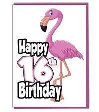 Pink Flamingo 16th Birthday Card - Teenager - Daughter - Grandaughter - Friend