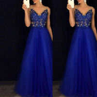Women Lace Mesh Sleeveless Sequined Dress Prom Ball Gown Formal Party Maxi Dress