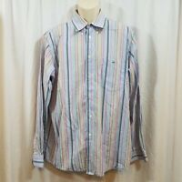 LACOSTE Mens Long Sleeve Button Down Shirt Size 44 (US XL) Lilac Striped
