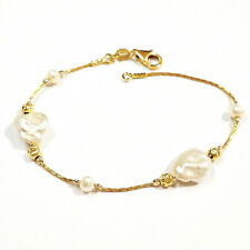 Beads Anklet - Made to your size! Freshwater Keshi Pearls and 14kt Gold Filled