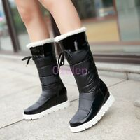 HOT Womens Warm Winter Snow Winter Mid Calf Boots Thicken Fur Waterproof Shoes